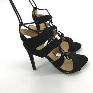 Diva Lace Up Caged Heels Size 7.5 Black